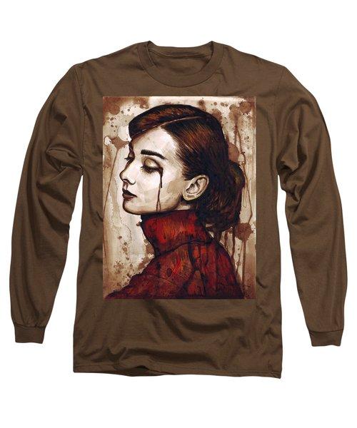 Audrey Hepburn - Quiet Sadness Long Sleeve T-Shirt by Olga Shvartsur