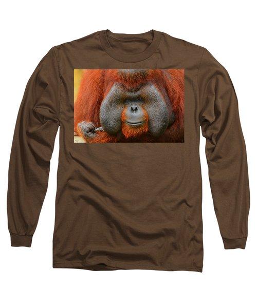 Bornean Orangutan Long Sleeve T-Shirt by Lourry Legarde
