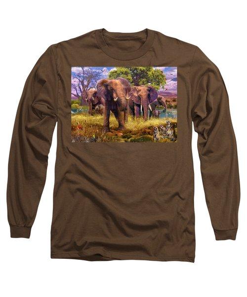 Elephants Long Sleeve T-Shirt by Jan Patrik Krasny