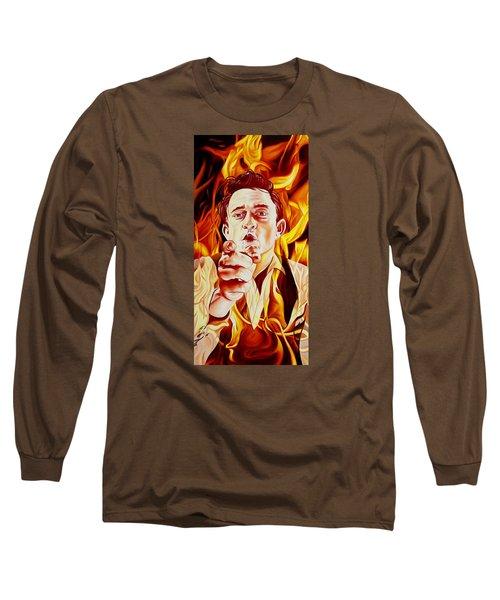 Johnny Cash And It Burns Long Sleeve T-Shirt by Joshua Morton