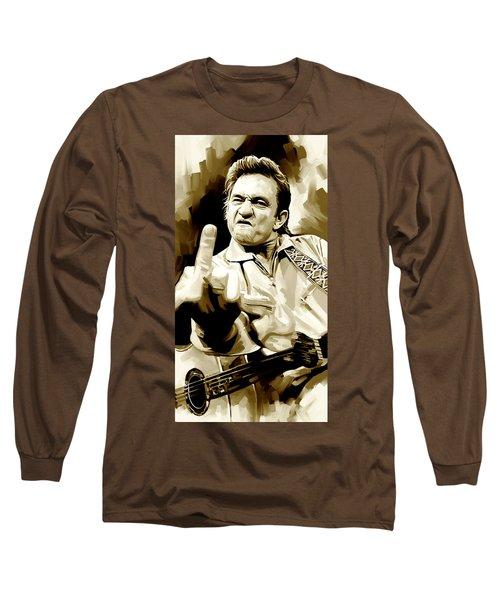 Johnny Cash Artwork 2 Long Sleeve T-Shirt by Sheraz A