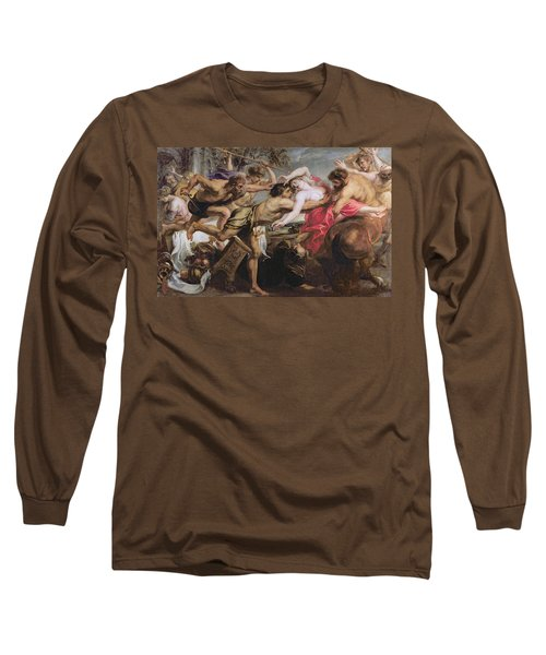 Lapiths And Centaurs Oil On Canvas Long Sleeve T-Shirt by Peter Paul Rubens
