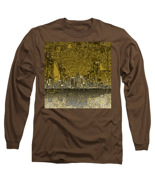 Los Angeles Skyline Abstract 4 Long Sleeve T-Shirt by Bekim Art