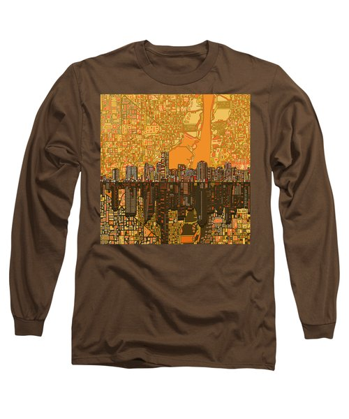Miami Skyline Abstract 5 Long Sleeve T-Shirt by Bekim Art
