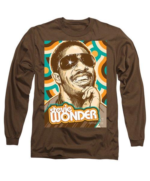Stevie Wonder Pop Art Long Sleeve T-Shirt by Jim Zahniser