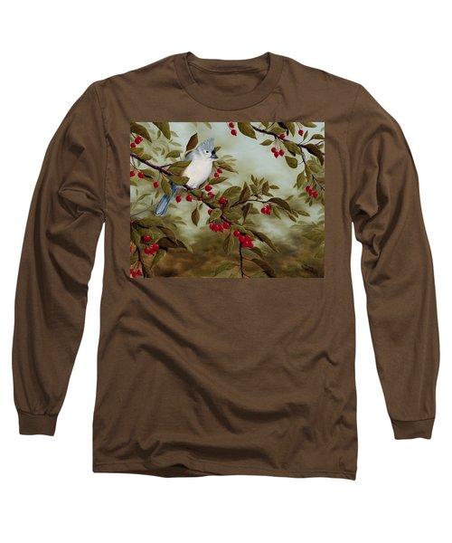 Tufted Titmouse Long Sleeve T-Shirt by Rick Bainbridge
