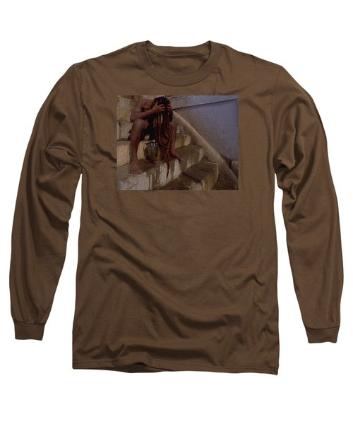Long Sleeve T-Shirt featuring the photograph Varanasi Hair Wash by Travel Pics