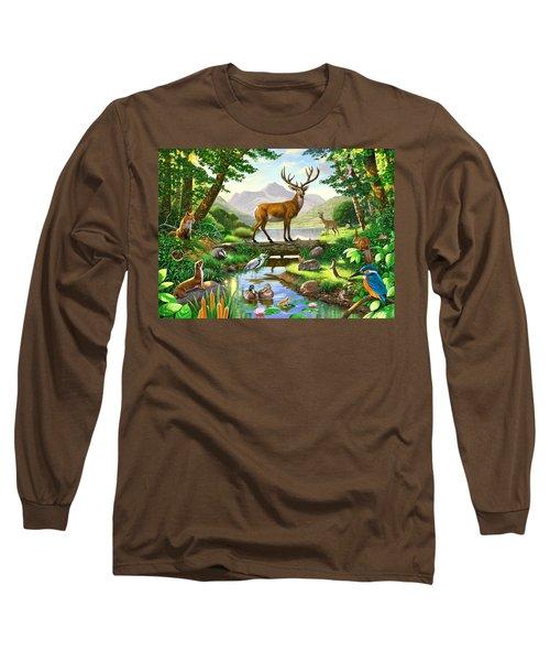 Woodland Harmony Long Sleeve T-Shirt by Chris Heitt