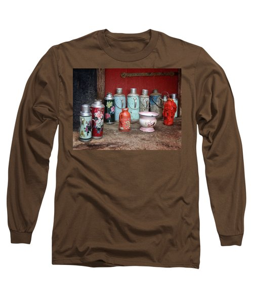 Yak Butter Thermoses Long Sleeve T-Shirt by Joan Carroll
