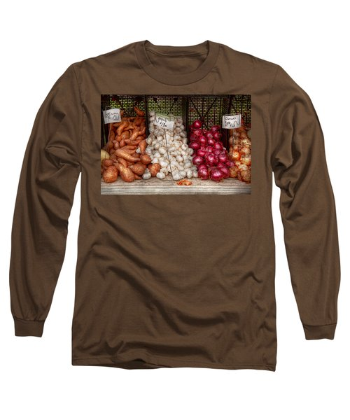 Food - Vegetable - Sweet Potatoes-garlic- And Onions - Yum  Long Sleeve T-Shirt by Mike Savad