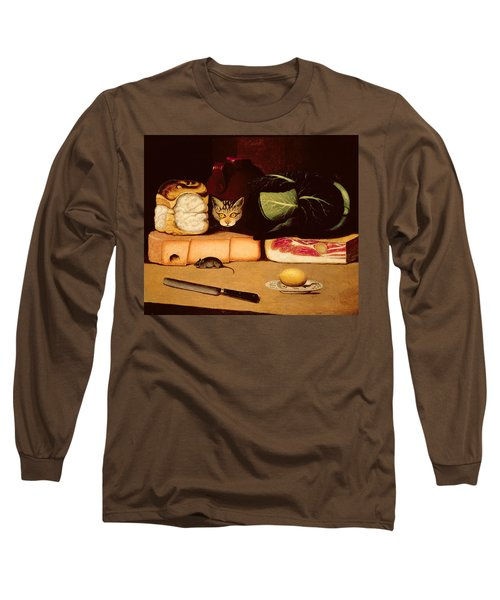 Still Life With Cat And Mouse Long Sleeve T-Shirt by Anonymous