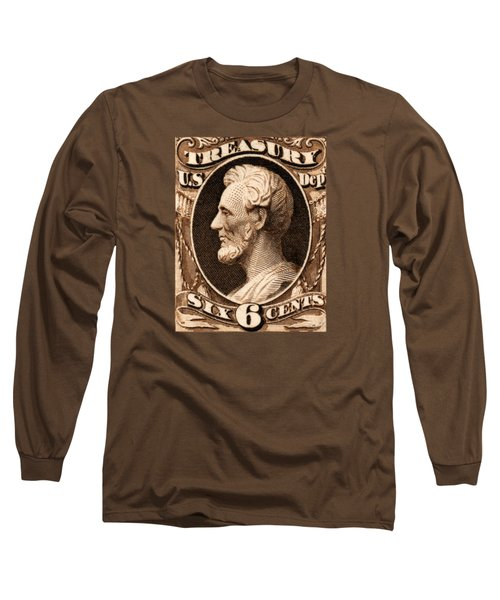 1875 Abraham Lincoln Treasury Department Stamp Long Sleeve T-Shirt by Historic Image