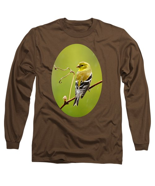 American Goldfinch In The Rain Long Sleeve T-Shirt by Christina Rollo