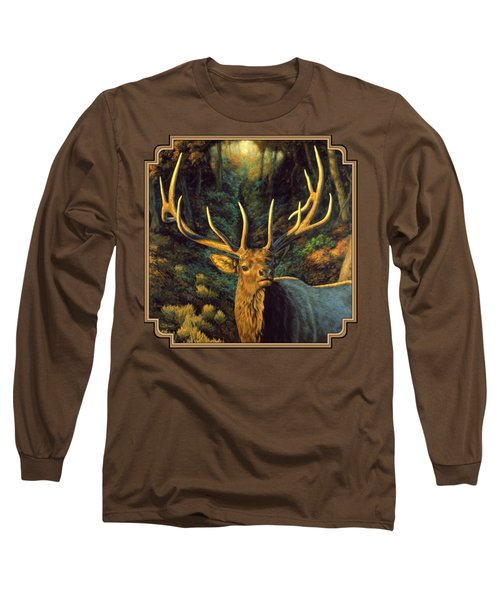 Elk Painting - Autumn Majesty Long Sleeve T-Shirt by Crista Forest