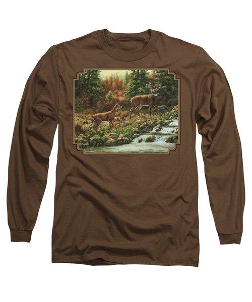 Whitetail Deer - Follow Me Long Sleeve T-Shirt by Crista Forest