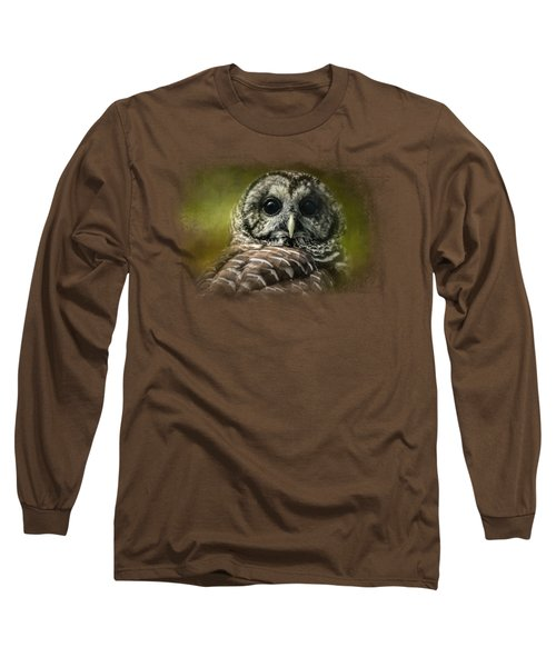 Barred Owl In The Grove Long Sleeve T-Shirt by Jai Johnson