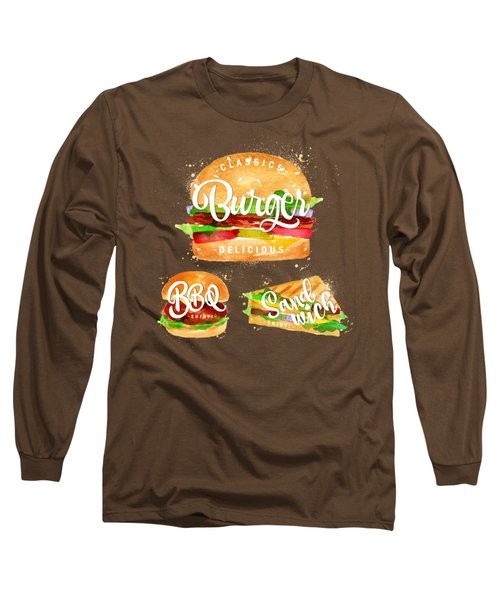 Black Burger Long Sleeve T-Shirt by Aloke Design