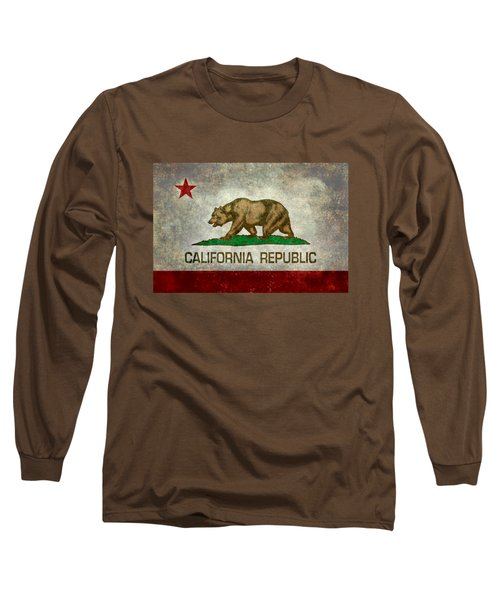 California Republic State Flag Retro Style Long Sleeve T-Shirt by Bruce Stanfield