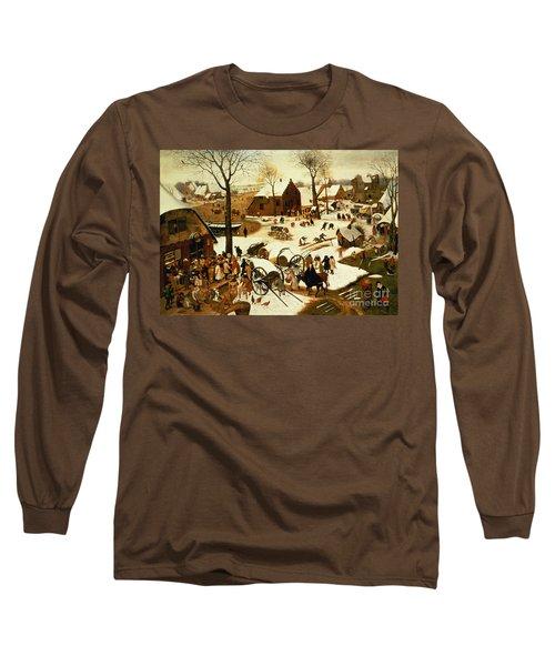 Census At Bethlehem Long Sleeve T-Shirt by Pieter the Elder Bruegel