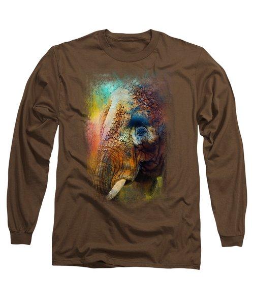 Colorful Expressions Elephant Long Sleeve T-Shirt by Jai Johnson