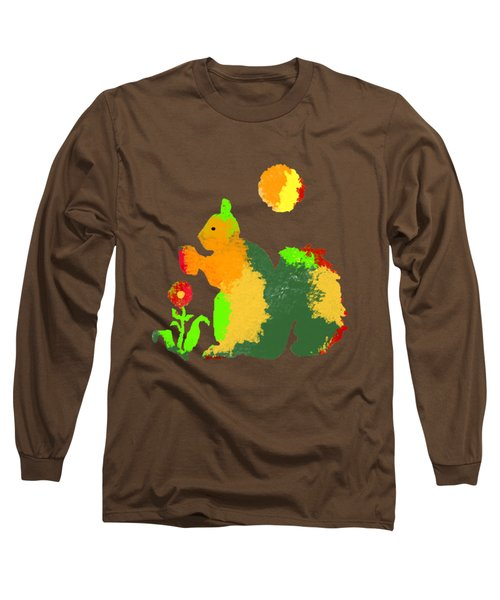 Colorful Squirrel 1 Long Sleeve T-Shirt by Holly McGee