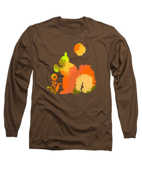Colorful Squirrel 2 Long Sleeve T-Shirt by Holly McGee