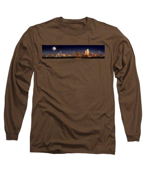 Dallas Skyline At Dusk Big Moon Night  Long Sleeve T-Shirt by Jon Holiday
