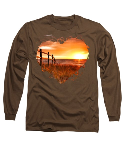 Door County Europe Bay Fence Sunrise Long Sleeve T-Shirt by Christopher Arndt