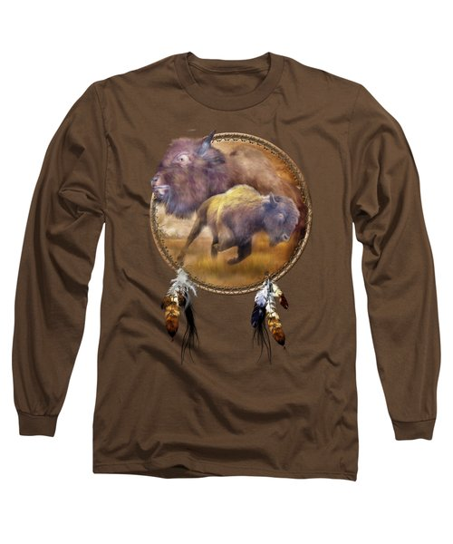 Dream Catcher - Spirit Of The Brown Buffalo Long Sleeve T-Shirt by Carol Cavalaris