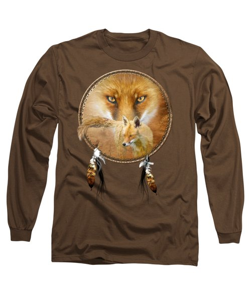 Dream Catcher- Spirit Of The Red Fox Long Sleeve T-Shirt by Carol Cavalaris