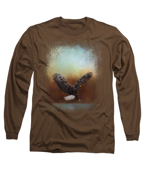 Eagle Hunting In The Marsh Long Sleeve T-Shirt by Jai Johnson