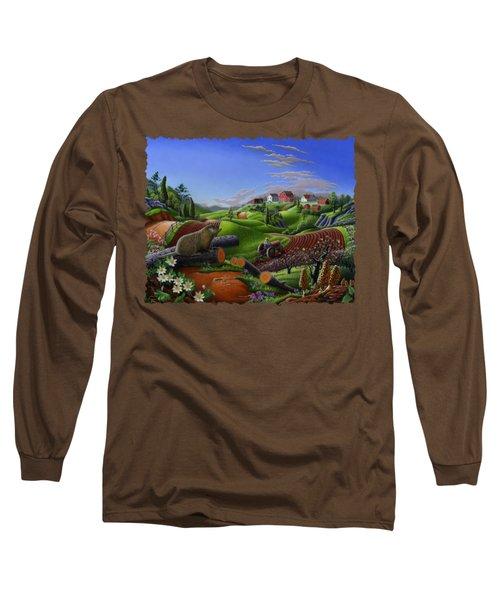 Farm Folk Art - Groundhog Spring Appalachia Landscape - Rural Country Americana - Woodchuck Long Sleeve T-Shirt by Walt Curlee