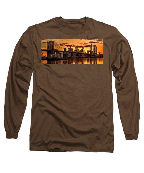 Fiery Sunset Over Manhattan  Long Sleeve T-Shirt by Az Jackson