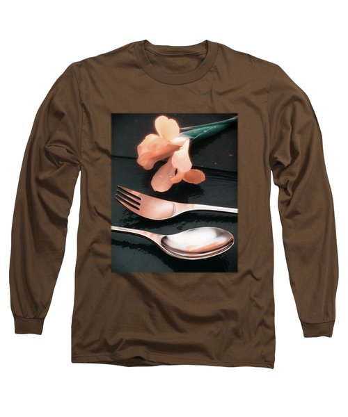Flowers On Slate Variation 4 Long Sleeve T-Shirt by Jon Delorme