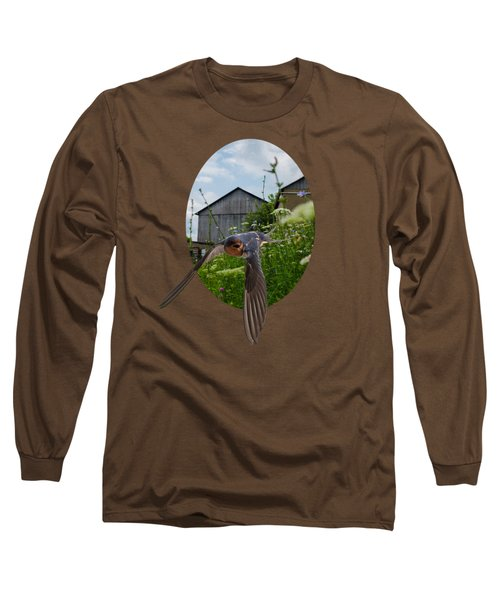 Flying Through The Farm Long Sleeve T-Shirt by Jan M Holden