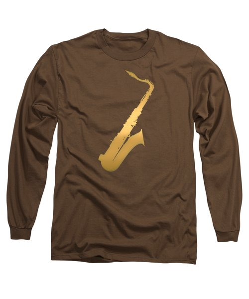 Gold Embossed Saxophone On Red Background Long Sleeve T-Shirt by Serge Averbukh