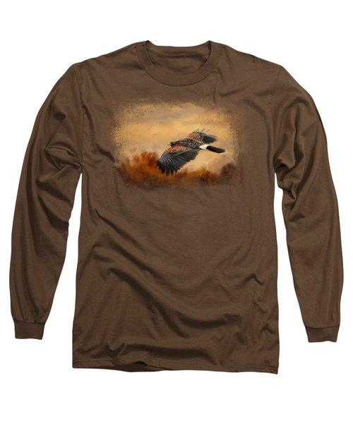 Harris Hawk In Autumn Long Sleeve T-Shirt by Jai Johnson
