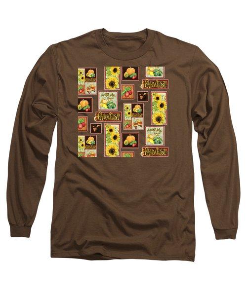 Harvest Market Pumpkins Sunflowers N Red Wagon Long Sleeve T-Shirt by Audrey Jeanne Roberts