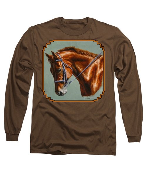 Horse Painting - Focus Long Sleeve T-Shirt by Crista Forest