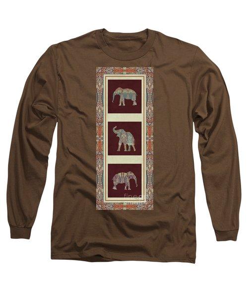 Kashmir Elephants - Vintage Style Patterned Tribal Boho Chic Art Long Sleeve T-Shirt by Audrey Jeanne Roberts