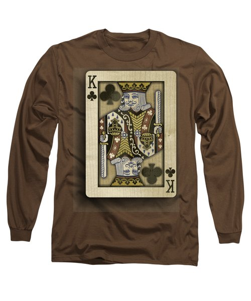 King Of Clubs In Wood Long Sleeve T-Shirt by YoPedro