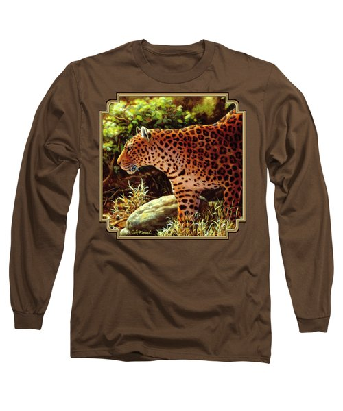 Leopard Painting - On The Prowl Long Sleeve T-Shirt by Crista Forest