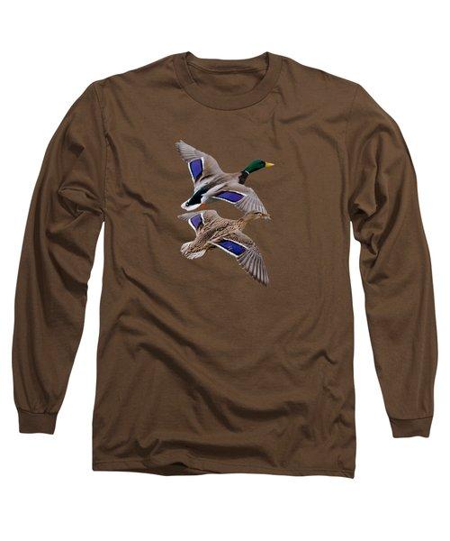 Mallards In Flight  Long Sleeve T-Shirt by Jan M Holden