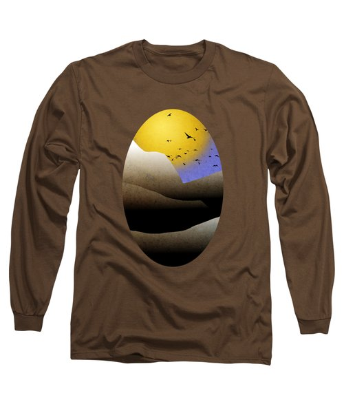 Mountain Sunset Landscape Art Long Sleeve T-Shirt by Christina Rollo