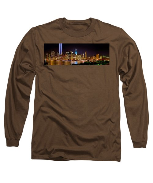 New York City Tribute In Lights And Lower Manhattan At Night Nyc Long Sleeve T-Shirt by Jon Holiday