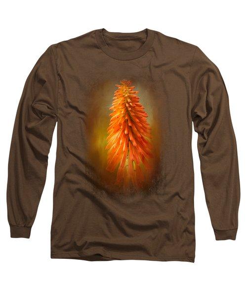 Orange Blast In The Garden Long Sleeve T-Shirt by Jai Johnson