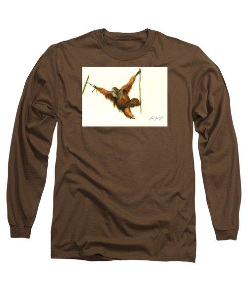 Orangutan Long Sleeve T-Shirt by Juan Bosco