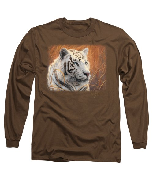 Portrait White Tiger 2 Long Sleeve T-Shirt by Lucie Bilodeau