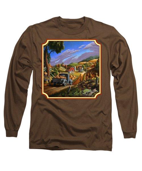 Pumpkins Farm Folk Art Fall Landscape - Square Format Long Sleeve T-Shirt by Walt Curlee