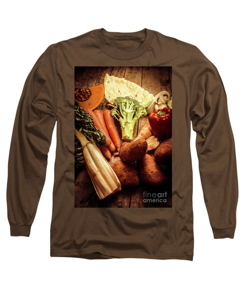 Raw Vegetables On Wooden Background Long Sleeve T-Shirt by Jorgo Photography - Wall Art Gallery